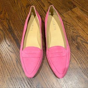 Pink suede Talbots loafers NWOB 5.5